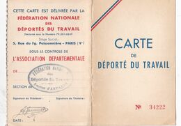 CARTE D ADHERENT  CARTE DE DEPORTE DU TRAVAIL 1952 1955 SECTION ARPAJON 91 - Historische Documenten