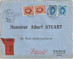 ESC Recommandée Kronberger 40 M. Port Saïd R.1 -> France 1927 - Brieven En Documenten