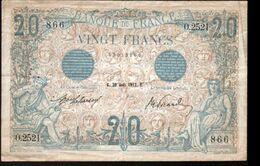 """France - 20 Francs """"BLEU"""", 30 Aout 1912 - 1871-1952 Antichi Franchi Circolanti Nel XX Secolo"""