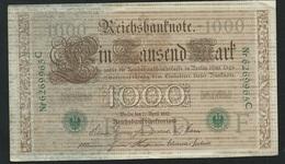 1910 - Allemagne - Germany - 1000 MARK, Berlin Den 21 April 1910 -  Nr 6269965 C Laura 5405 - 1000 Mark