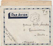 LAC FM CACHET HEXA CROISEUR TOURVILLE 7/3/46 - SP 71080 - POUR TOURNISSAN AUDE - Poststempel (Briefe)