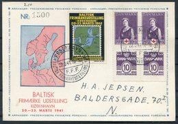 1941 Denmark København / F.F.F. / Baltisk Frimærkeudstilling D. 22.3.1941. Baltic Stamp Exhibition Postcard. Red Cross - 1913-47 (Christian X)