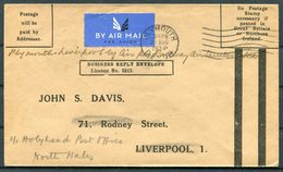 1934 GB Plymouth - Liverpool, Railway Air Service Flight Cover. R.A.S. Airmail. Business Reply Envelope - Covers & Documents