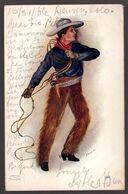 USA, 1906 Cowboy With Lazo Illustrated Postcard      -CW16 - Altre Tematiche