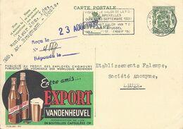 Belgique Carte Postale Publibel 260 Oblitéré Entier Postal, Bière, Beer, Bier. Bière Export Vandenheuvel - Birre