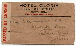 HOTEL GLÓRIA INDIA PORTUGAL PORTUGUESESE ADVERTISING CENSORED AIRMAIL COVER NOVA GOA TO KARACHI - Inde Portugaise