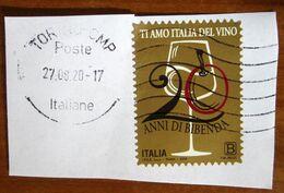 2019 ITALIA 20 Anni Guida Bibenda  Calice Vino - B Usato Su Frammento - 6. 1946-.. Repubblica