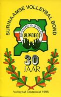 58469 Suriname, Special Double Card Volleyball Centennial 1995  Surinaamse Volleybal Bond - Volleyball