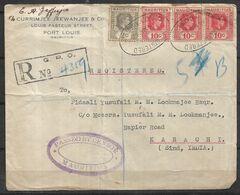USED REGISTERED AIR MAIL COVER MAURITIUS TO KARACHI ( PAKISTAN )1940 INDIA - Mauritius (1968-...)