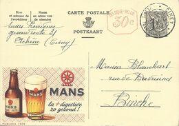 Belgique Carte Postale Publibel 1509 Oblitéré Entier Postal, Bière, Beer, Bier. Bière Mans Verre - Birre