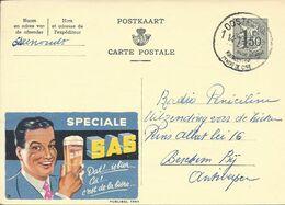 Belgique Carte Postale Publibel 1563 Oblitéré Entier Postal, Bière, Beer, Bier. Bière Spéciale SAS Verre - Birre