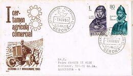 37680. Carta Certificada GERONA 1965. Certamen Agricola Comercial, Exposicion Filatelica - 1931-Aujourd'hui: II. République - ....Juan Carlos I
