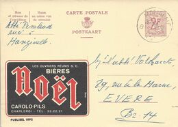 Belgique Carte Postale Publibel 1992 Oblitéré Entier Postal, Bière, Beer, Bier. Bières Noël Carolo-Pils - Birre