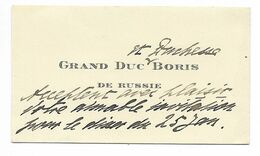 CARTE DE VISITE Du GRAND DUC BORIS DE RUSSIE Répondant à Une Invitation Du Marquis De Brémond D'Ars... - Cartoncini Da Visita