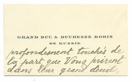 CARTE DE VISITE Du GRAND DUC & DUCHESSE BORIS DE RUSSIE Remerciant Suite à Deuil Le Marquis De Brémond D'Ars... - Cartoncini Da Visita