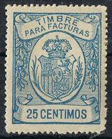 Sello Timbre Facturas 25 Cts Monarquico, VARIEDAD Impresion, * - Fiscales