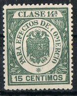 Sello Efectos De Comercio, Fiscal Clase 14 15 Cts Estado Español, VARIEDAD Impresion, * - Fiscales