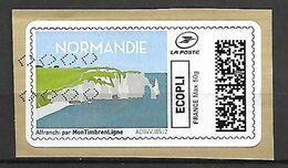 FRANCE    -   2020   -  Vignette Illustrée.    Normandie  /  Falaises - 2010-... Illustrated Franking Labels