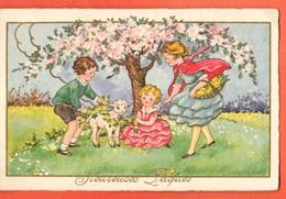 CAB-37 Heureuses Pâques Enfants Et Mouton Sous Un Pommier En Fleurs. Begro 9165, Non Circulé - Pasen