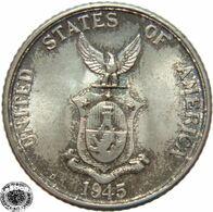 LaZooRo: Philippines 20 Centavos 1945 D UNC - Silver - Philippines