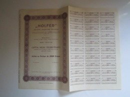 """ACTION AU PORTEUR DE 5000 FRANCS """"HOLFER """" - Autres"""