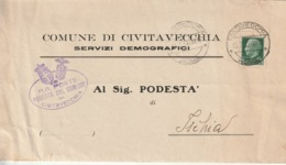 Civitavecchia. 1939. Annullo Guller CIVITAVECCHIA *ROMA* + Ovale PODESTA' DEL COMUNE .. Su Lettera Per Ischia, Con Testo - Marcophilie