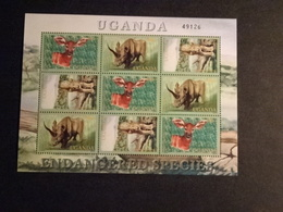 M10673 -   Sheet MNH Uganda 2001 - Endangered Species - Black Rino - Bongo And Leopard - Otros