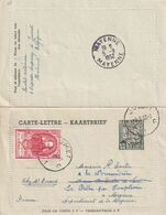 DDX 694 -- Carte-Lettre Exportations (avec Bords) + TP 883 UPU JUMET 1952 Vers MAYENNE France - Cartas-Letras