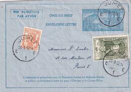 DDX 695 -- Aérogramme Métallurgie + TP 880 UPU + Petit Sceau JUMET 1952 Vers PARIS France - Tarif Exact 4 F - Stamped Stationery