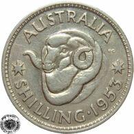 LaZooRo: Australia 1 Shilling 1953 XF / UNC - Silver - Sterling Coinage (1910-1965)