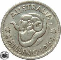LaZooRo: Australia 1 Shilling 1954 XF / UNC - Silver - Sterling Coinage (1910-1965)