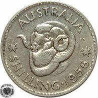 LaZooRo: Australia 1 Shilling 1956 XF / UNC - Silver - Sterling Coinage (1910-1965)