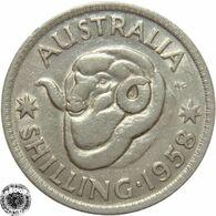LaZooRo: Australia 1 Shilling 1958 XF / UNC - Silver - Sterling Coinage (1910-1965)