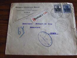 14-18: Lettre Recommandée à 40 Cent (25+15) Oblitérée NAMUR 1 (à Pont) En 1918. Censure De Namur - Guerra '14-'18
