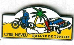 Pin's Rallye De Tunisie Automobile Moto Cyril Neveu (signé Coinderoux Paris) - Rallye