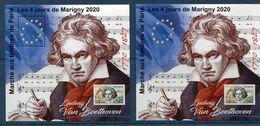FRANCE LES 2 BLOCS DU MARCHE AUX TIMBRES DE PARIS LES 4 JOURS DE MARIGNY 2020 LUDWIG VAN BEETHOVEEN 1770 - 1827 - Bloc De Notas & Hojas
