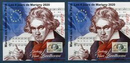 FRANCE LES 2 BLOCS DU MARCHE AUX TIMBRES DE PARIS LES 4 JOURS DE MARIGNY 2020 LUDWIG VAN BEETHOVEEN 1770 - 1827 - Muziek