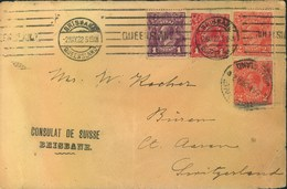 """1922, Letter With 3-color-franking Georg V. From BRISBANE """"Consulat De Suisse"""" - Covers & Documents"""