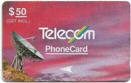 New Zealand - NZT (GPT) - Satellites Standard '90 - G-014 - Satellite Violet & Red, 3NZLE - 1990, 50$, 26.400ex, Used - Nuova Zelanda