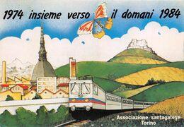 """01873 """"TORINO-1974 INSIEME VERSO IL DOMANI 1984-FOND.NE COMM.TI SANTAGATESE""""  ILLUSTR. BALDUCCI P.LTRENO. CART  NON SPED - Inaugurazioni"""