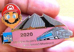PIN'S DU 10 ème SALON DU PINS DE SAINT AMAND DE MONTROND, TGV, MONTGOLFIERE MARIO BROS,RADIO FRANCE BLEU - Otros