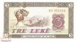 ALBANIA 3 LEKE 1976 PICK 41a UNC - Albania