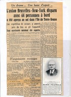 SABENA – Accident DC 4 à Terre-Neuve -septembre 1946 – Nécrologie Henri Pauwels – Syndicats Chrétien – Voir Scan - Obituary Notices