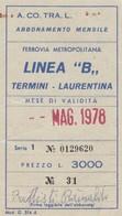 ABBONAMENTO ACOTRAL MAGGIO MAG 1978 (BY1723 - Europa