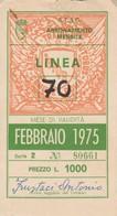 ABBONAMENTO ATAC ROMA FEBBRAIO 1975 (BY1740 - Europe