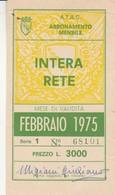 ABBONAMENTO ATAC ROMA FEBBRAIO 1975 (BY1741 - Europe