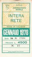 ABBONAMENTO ATAC ROMA GENNAIO 1978 (BY1761 - Week-en Maandabonnementen
