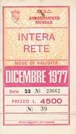 ABBONAMENTO ATAC ROMA DICEMBRE 1977-piega In Basso (BY1763 - Week-en Maandabonnementen