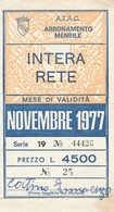 ABBONAMENTO ATAC ROMA NOVEMBRE 1977 (BY1766 - Week-en Maandabonnementen