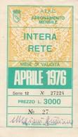 ABBONAMENTO ATAC ROMA APRILE 1976 (BY1767 - Week-en Maandabonnementen